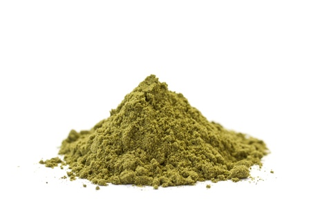 hemp: Side view of organic raw hemp protein powder  Isolated on white