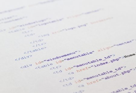 HTML code for a web page Stock Photo - 19197991