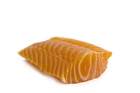 salmonidae: Wild Salmon fish on white background  Salmon is the common name for several species of fish in the family Salmonidae  Stock Photo