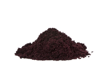 Pure organic and raw acai berry powder  Stock Photo