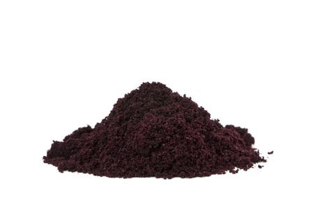 Pure organic and raw acai berry powder  Stock Photo