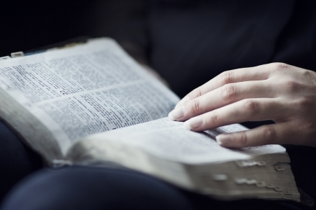 young woman reading bible: A close-up of a christian woman reading the bible  Very shallow depth of fields