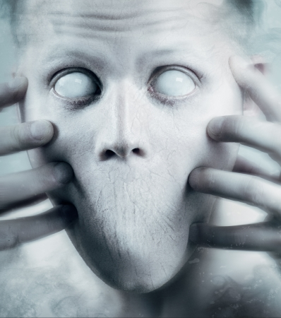 wierd: Scary man with white eyes and no mouth