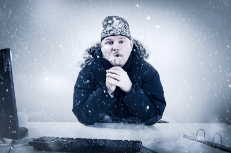 Office worker with mustache in cold snow  Frosty