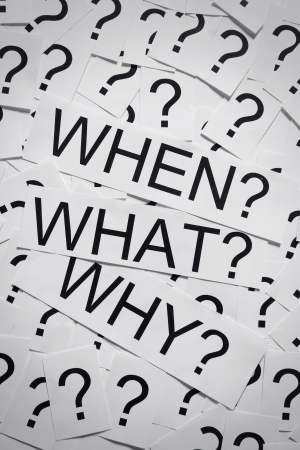 Why, when and why on many question marks on paper  Question concept  Stock Photo - 19294734