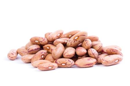 pinto bean: Raw Organic cranberry bean on white background