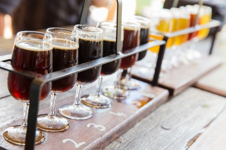 Tasting of many different types of beers. photo
