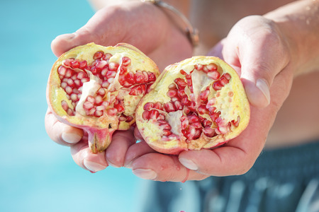 divided: Divided organic pomegranate from the tree