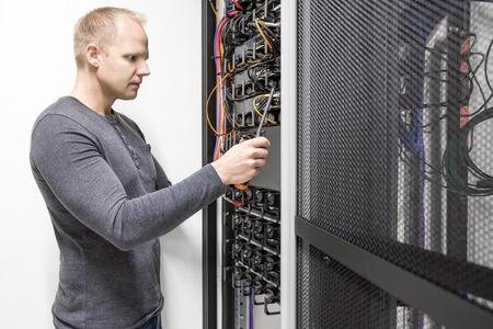 server side: Installs communication rack in datacenter