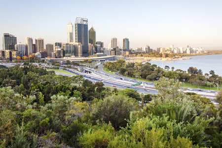 perth: Perth city skyline and main road