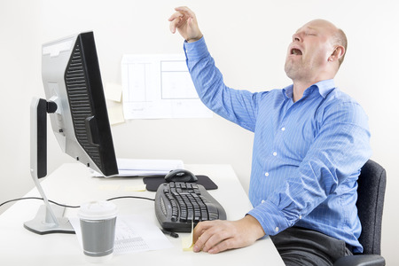 whining: Businessman crying and whining at the office Stock Photo
