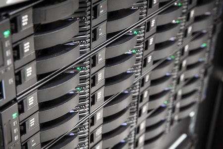 harddrive: Storage array network with hard drives in a enterprise datacenter. Data backup. Stock Photo