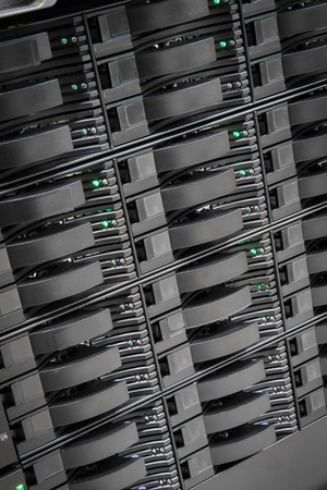 datacenter: Storage array network with hard drives in a enterprise datacenter. Data backup. Stock Photo