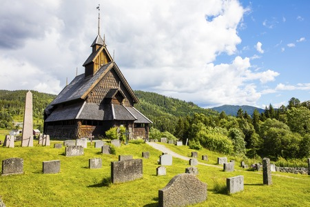 stave: The old Eidsborg stave church in Telemark, Norway Stock Photo