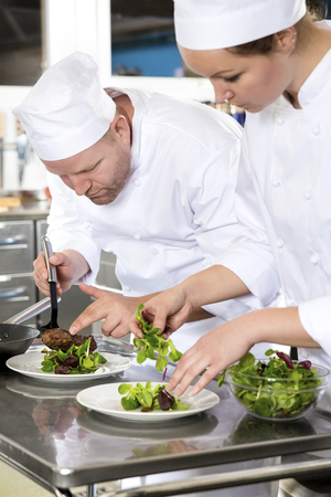 gourmet kitchen: Professional and dedicated chefs prepares beef meat dish in a professional kitchen at gourmet restaurant or hotel.
