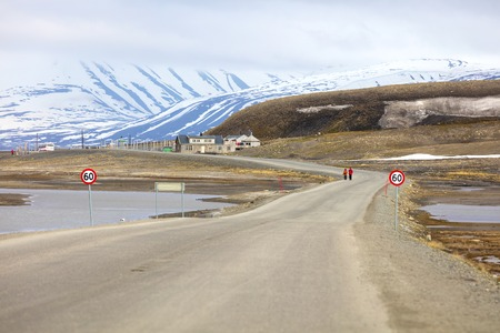 polar environment: Road to advent walley in Longyearbyen at Svalbard. Summer in the arctic environment of Longyearcity