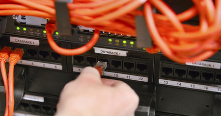 plug in: IT consultant plug in network cable in panel at datacenter Stock Photo