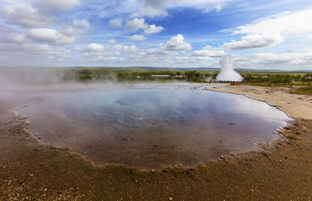 Large eruption geyser and hot spring in Iceland Stock Photo