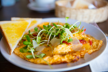 aonang: Spanish Omelette Served On Table In Restaurant Stock Photo