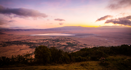 Early morning sunrise in the Ngorongoro crater