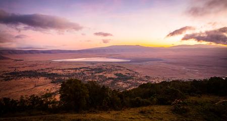 Early morning sunrise in the Ngorongoro crater