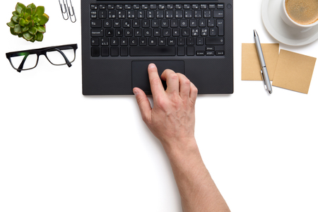 Businessman Touching Touchpad On Laptop On White Isolated Background Stock Photo
