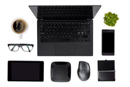 Various Devices Arranged On Isolated White Background