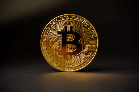 Gold Bitcoin Crypto Currency On Black Background