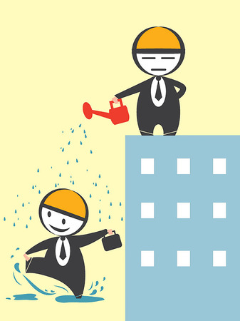 Business man pour water Stock Vector - 26211294