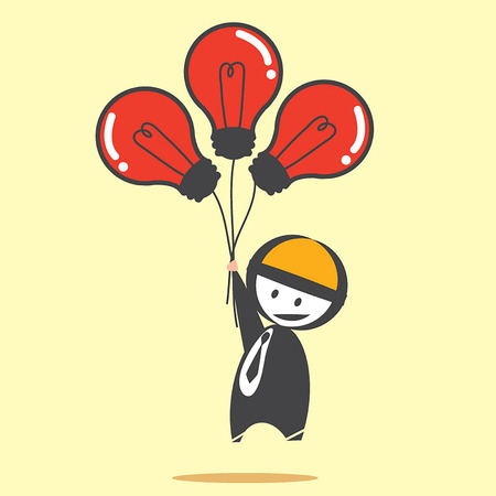 Business man with bulb balloon