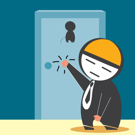 Businessman Knocking on restroom door Vector