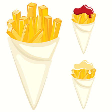 French fries paper cones Ilustracja