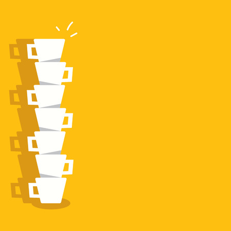coffee background: Coffee cups with yellow background Illustration