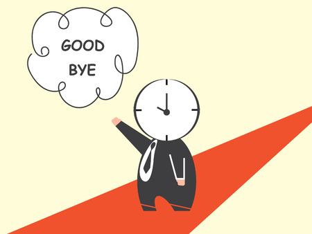 good bye: Clock head man say goodbye Illustration