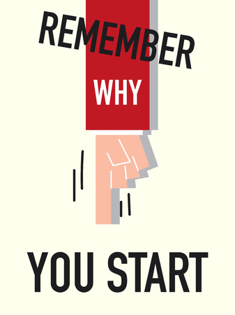 mindful: Word REMEMBER WHY YOU START vector illustration