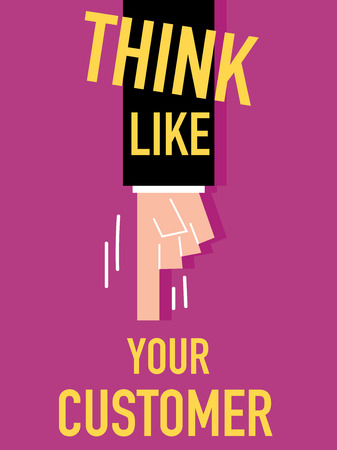 Word THINK LIKE YOUR CUSTOMER vector illustration Vector