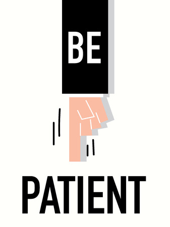 equanimity: Word PATIENT vector illustration