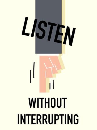 intrude: Word LISTEN vector illustration