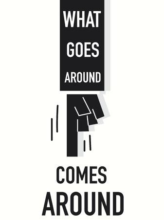 idzie: Word WHAT GOES AROUND COMES AROUND vector illustration Ilustracja