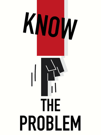 Word KNOW THE PROBLEM vector illustration