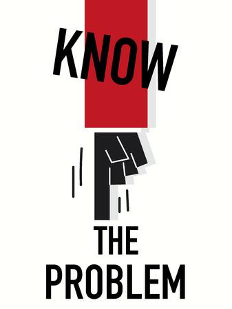 interrogatory: Word KNOW THE PROBLEM vector illustration