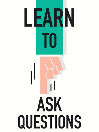 Word LEARN TO ASK QUESTIONS vector illustration