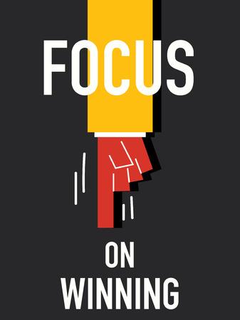 agreeable: Word FOCUS ON WINNING vector illustration