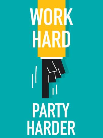 merrily: Word WORK HARD Illustration