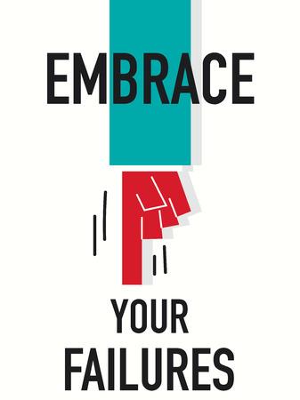 failures: Word EMBRACE YOUR FAILURES