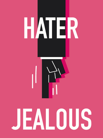 covetous: Word HATER vector illustration
