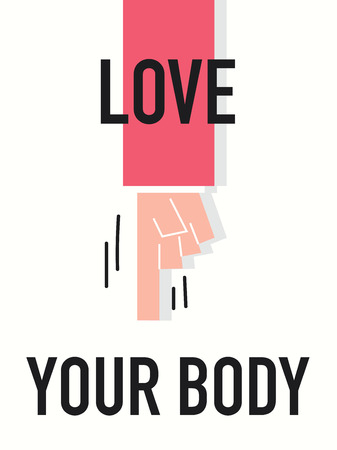 Word LOVE YOUR BODY Vector
