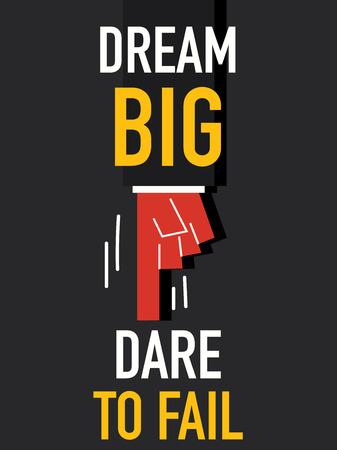 dare: Word DREAM DARE TO FAIL