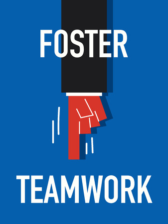 sustain: Word FOSTER TEAMWORK Illustration