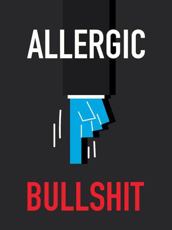 Word ALLERGIC BULLSHIT Illustration